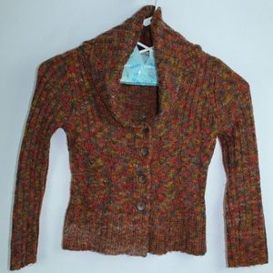 Prana Cowl Neck Button Up Cardigan Sweater Size S